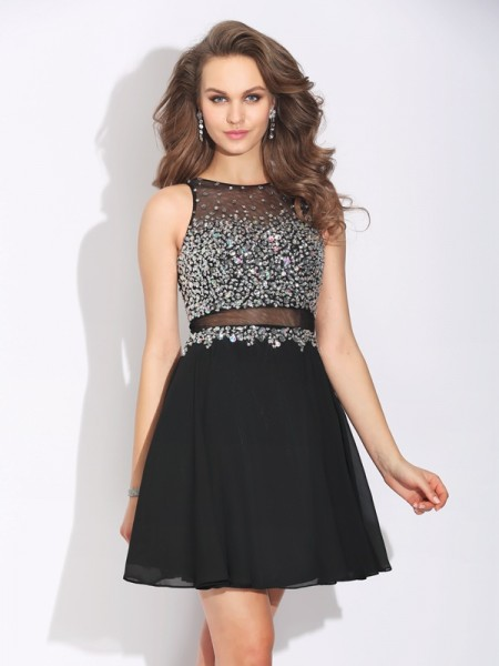 A-Line/Princess Black Chiffon Short/Mini Dresses with Beading