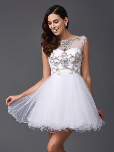 A-Line/Princess White Net Short/Mini Dresses with Beading