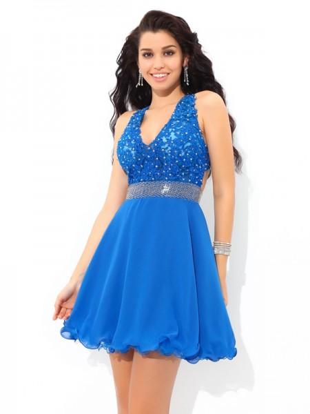 A-Line/Princess Royal Blue Chiffon Short/Mini Homecoming Dresses with Applique
