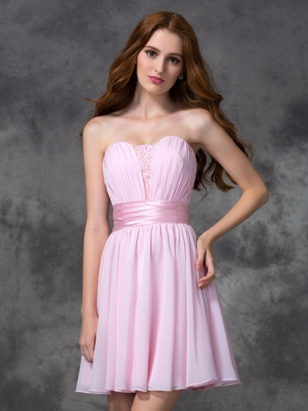 A-Line/Princess Pink Chiffon Short/Mini Dresses with Ruched