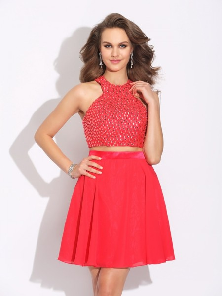 A-Line/Princess Red Chiffon Short/Mini Dresses with Crystal