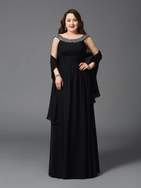 A-Line/Princess Black Chiffon Floor-Length Dresses with Rhinestone