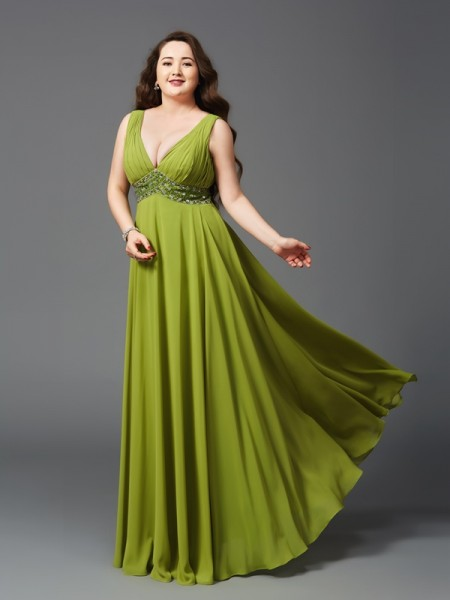 A-Line/Princess Green Chiffon Floor-Length Dresses with Rhinestone