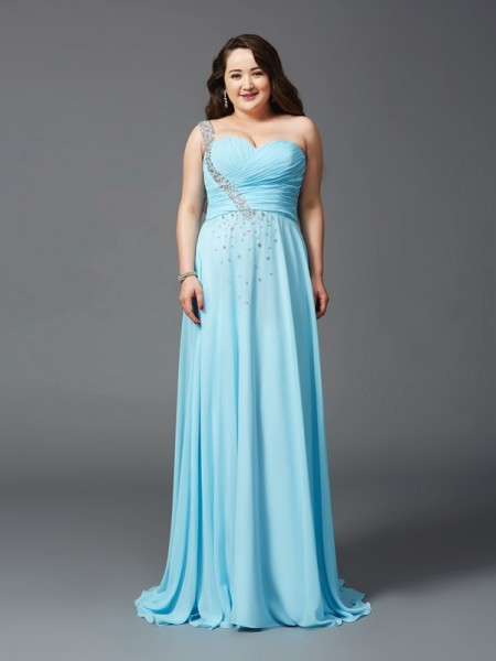 A-Line/Princess Light Sky Blue Chiffon Sweep/Brush Train Dresses with Rhinestone