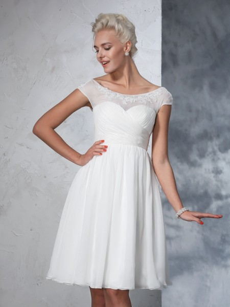 A-Line/Princess Ivory Chiffon Knee-Length Wedding Dresses with Ruched