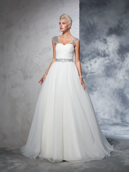 Ball Gown Ivory Net Chapel Train Wedding Dresses with Ruched