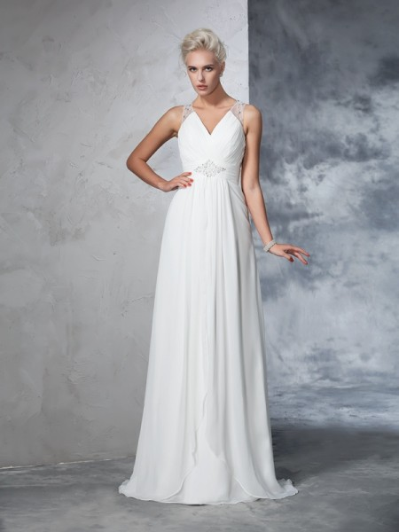 A-Line/Princess Ivory Chiffon Sweep/Brush Train Wedding Dresses with Ruched