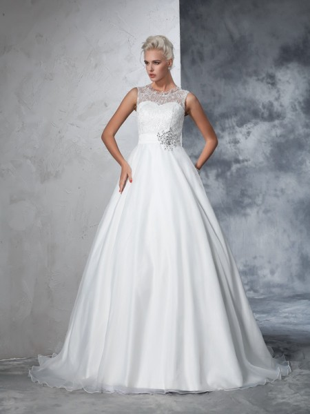 Ball Gown Ivory Net Chapel Train Wedding Dresses with Lace