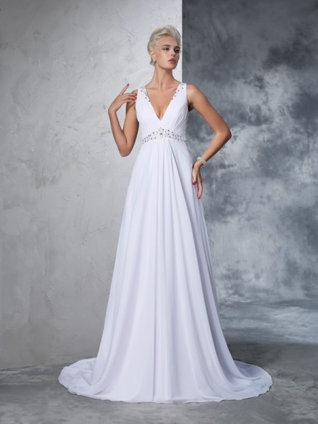 A-Line/Princess White Chiffon Cathedral Train Wedding Dresses with Beading