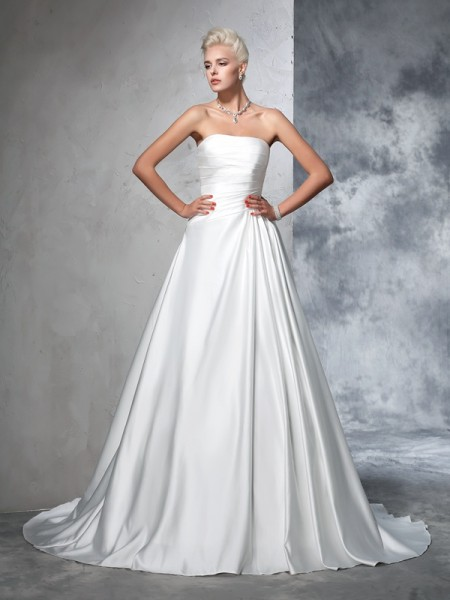 Ball Gown Ivory Satin Chapel Train Wedding Dresses with Ruched