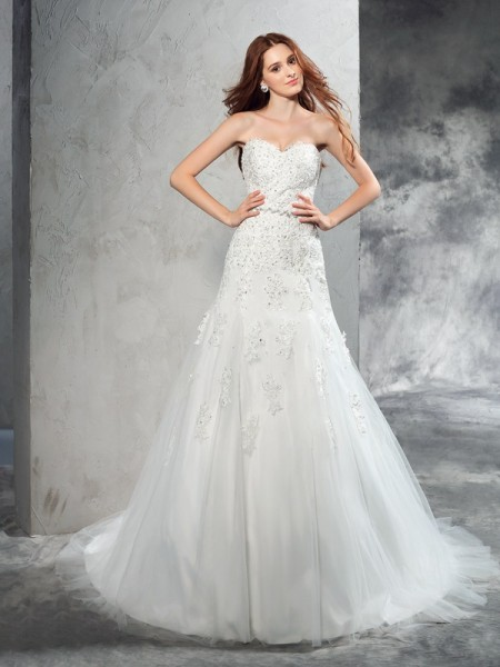 Sheath/Column Ivory Satin Court Train Wedding Dresses with Applique