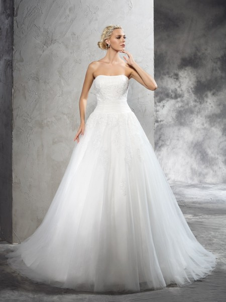 Ball Gown Ivory Satin Court Train Wedding Dresses with Applique