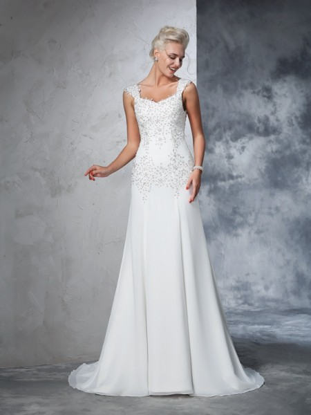 A-Line/Princess Ivory Chiffon Court Train Wedding Dresses with Beading
