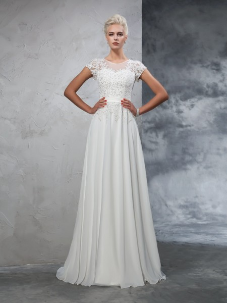 A-Line/Princess Ivory Chiffon Sweep/Brush Train Wedding Dresses with Applique