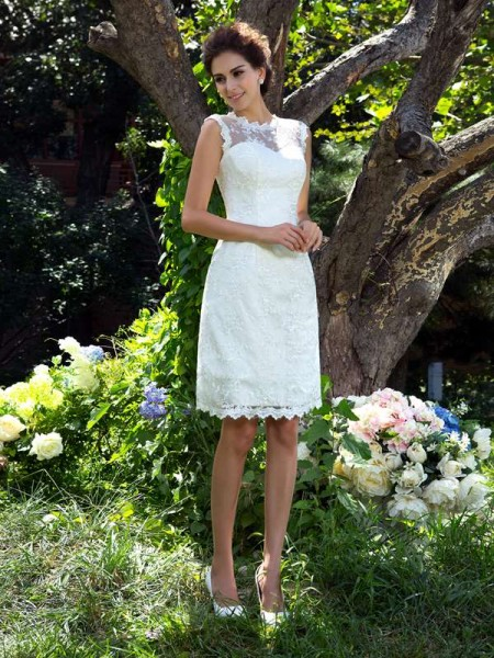 A-Line/Princess Ivory Satin Knee-Length Wedding Dresses with Applique
