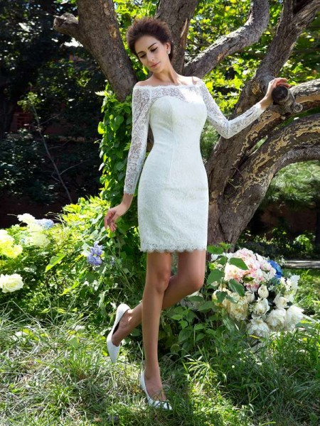 Sheath/Column Ivory Satin Short/Mini Wedding Dresses with Other