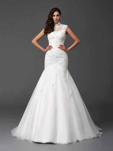 Trumpet/Mermaid Ivory Organza Sweep/Brush Train Wedding Dresses with Beading