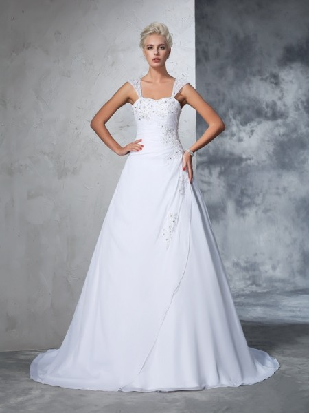 Ball Gown White Chiffon Court Train Wedding Dresses with Applique