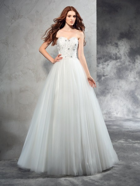 A-Line/Princess Ivory Net Floor-Length Wedding Dresses with Beading