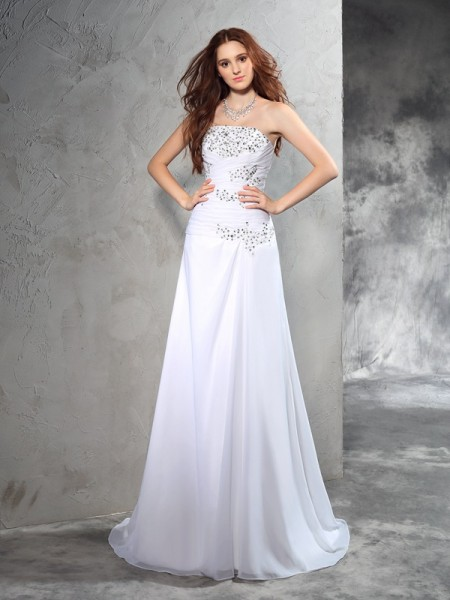 Sheath/Column White Chiffon Sweep/Brush Train Wedding Dresses with Beading