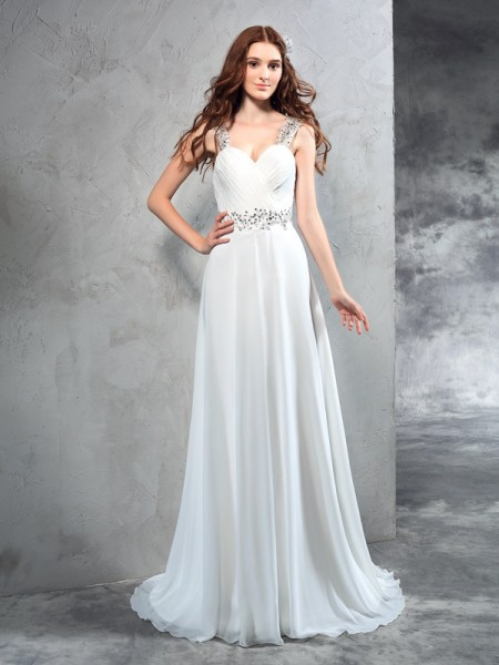 A-Line/Princess Ivory Chiffon Sweep/Brush Train Wedding Dresses with Pleats