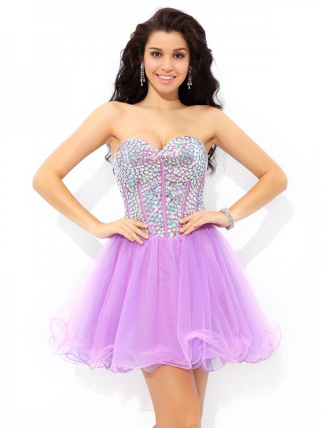 A-Line/Princess Lilac Net Short/Mini Homecoming Dresses with Paillette