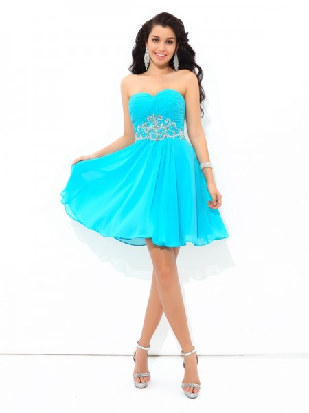 A-Line/Princess Blue Chiffon Short/Mini Homecoming Dresses with Pleats