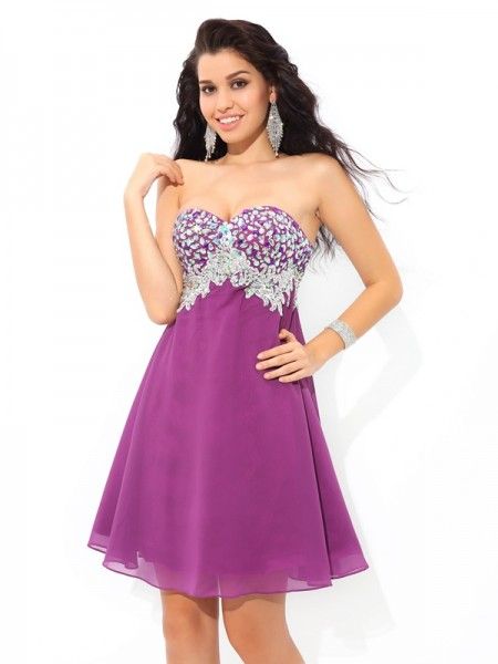 A-Line/Princess Lavender Chiffon Short/Mini Dresses with Rhinestone