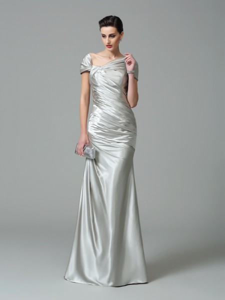 Sheath/Column Silver Silk like Satin Floor-Length Evening Dresses with Pleats