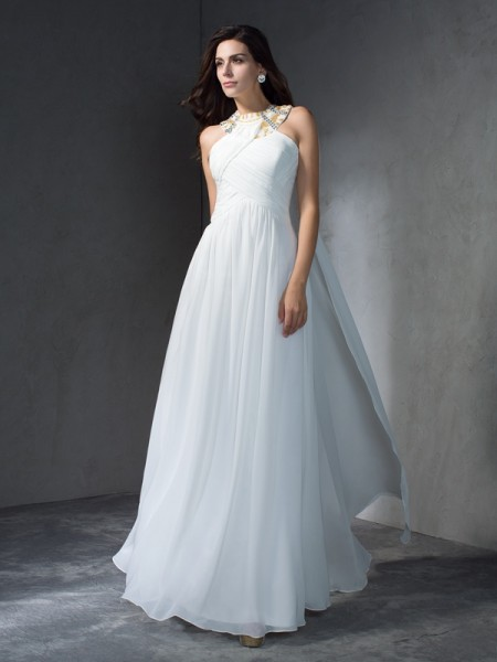 A-Line/Princess White Chiffon Floor-Length Evening Dresses with Beading
