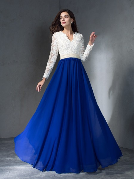 A-Line/Princess Royal Blue Chiffon Floor-Length Evening Dresses with Other