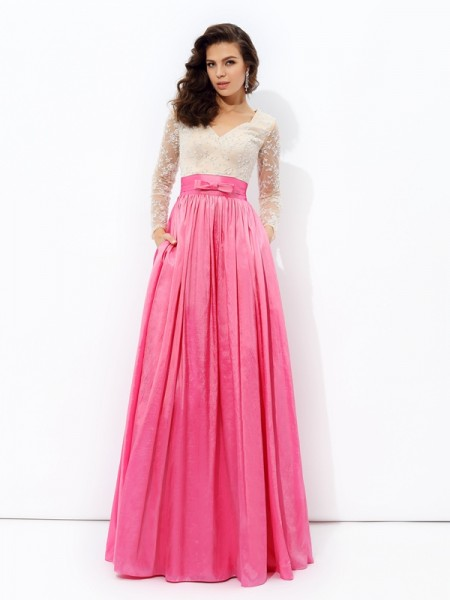A-Line/Princess Fuchsia Taffeta Floor-Length Evening Dresses with Lace