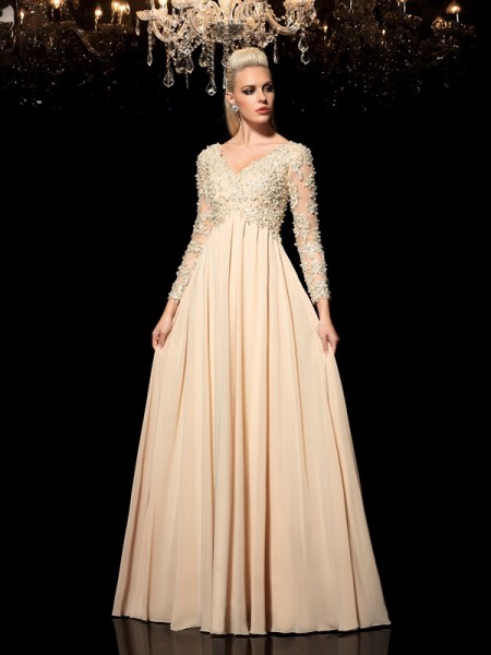 A-Line/Princess Champagne Chiffon Floor-Length Evening Dresses with Applique