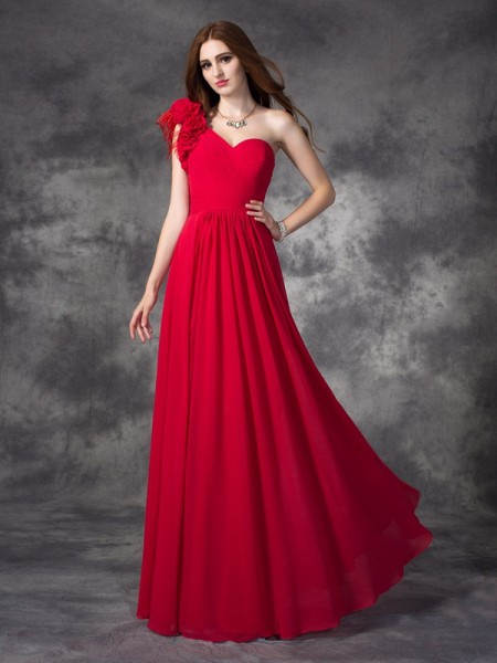 A-Line/Princess Red Chiffon Floor-Length Dresses with Hand-Made Flower