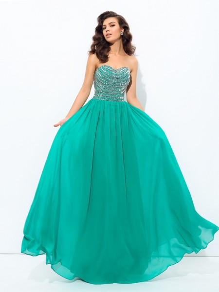A-Line/Princess Dark Green Chiffon Floor-Length Dresses with Beading