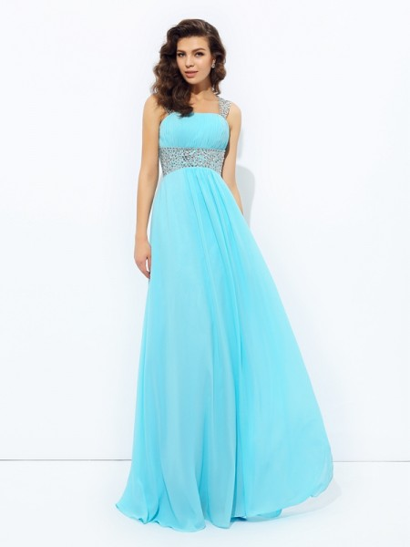 A-Line/Princess Light Sky Blue Chiffon Floor-Length Dresses with Sequin