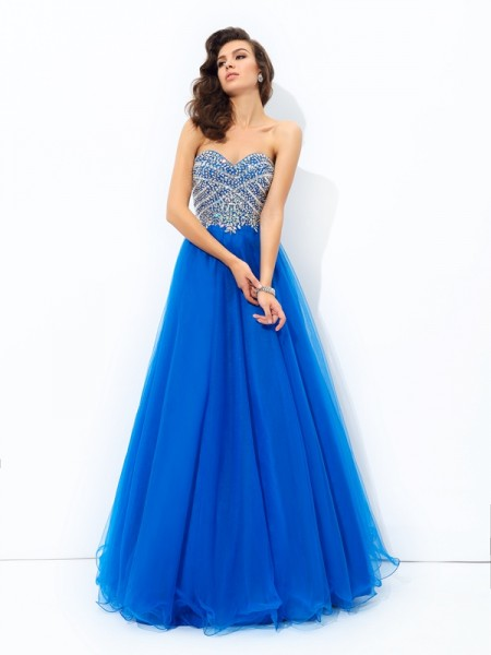 A-Line/Princess Royal Blue Net Floor-Length Dresses with Sequin