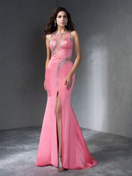 Trumpet/Mermaid Pearl Pink Satin Sweep/Brush Train Dresses with Beading