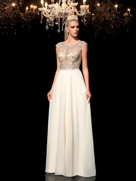 A-Line/Princess Champagne Chiffon Floor-Length Evening Dresses with Rhinestone