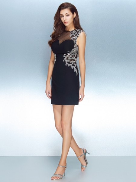 Sheath/Column Dark Navy Net Short/Mini Homecoming Dresses with Crystal