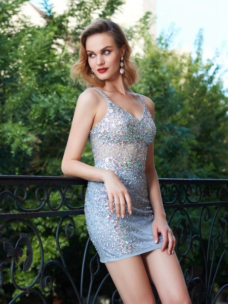 Sheath/Column Silver Net Short/Mini Homecoming Dresses with Sequin