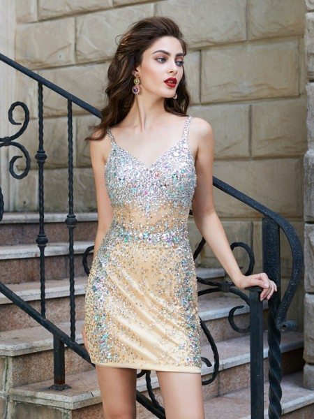 Sheath/Column Gold Net Short/Mini Homecoming Dresses with Sequin