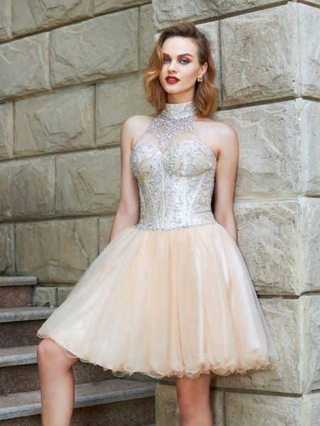 A-Line/Princess Champagne Net Short/Mini Homecoming Dresses with Beading
