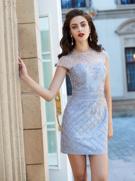 Sheath/Column Silver Satin Short/Mini Homecoming Dresses with Beading