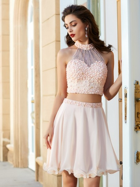 A-Line/Princess Pink Chiffon Short/Mini Homecoming Dresses with Beading
