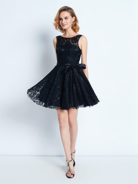 A-Line/Princess Black Lace Short/Mini Homecoming Dresses with Sash/Ribbon/Belt