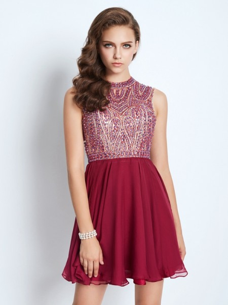 A-Line/Princess Burgundy Chiffon Short/Mini Homecoming Dresses with Beading