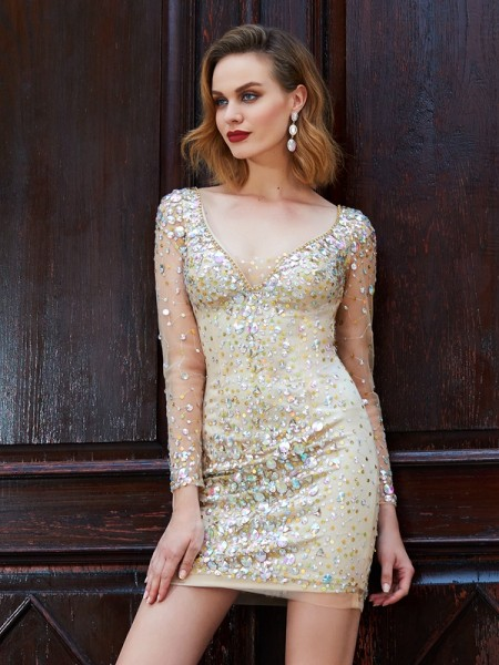 Sheath/Column Gold Net Short/Mini Homecoming Dresses with Rhinestone