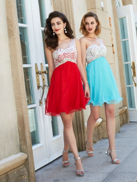 A-Line/Princess Red Chiffon Short/Mini Homecoming Dresses with Beading