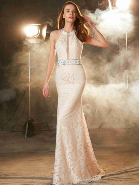 Sheath/Column Ivory Lace Floor-Length Dresses with Lace